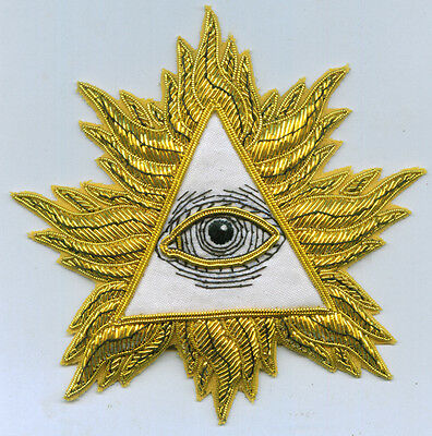 Masonic All Seeing Eye Pyramid Secret Occult Cape Badge Patch Master Lodge Seal