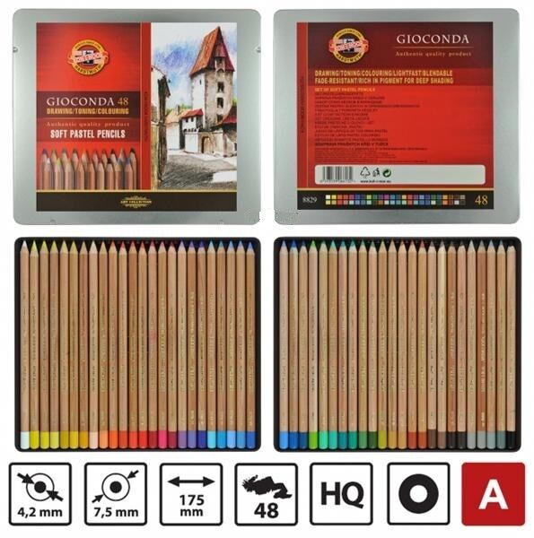 KOH-I-NOOR GIOCONDA Drawing Soft Pastel Pencils 8829 48 Colour In Metal BOX
