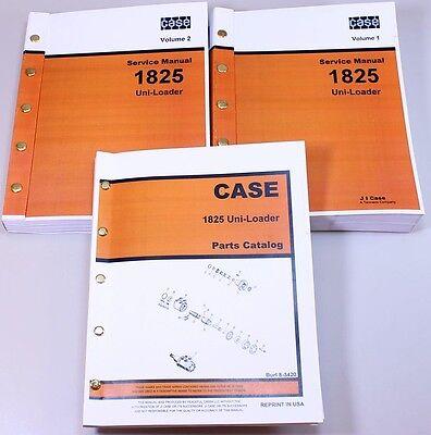 Case 1825 Uni-loader Skid Steer Parts Catalog Service Repair Shop Manuals Set