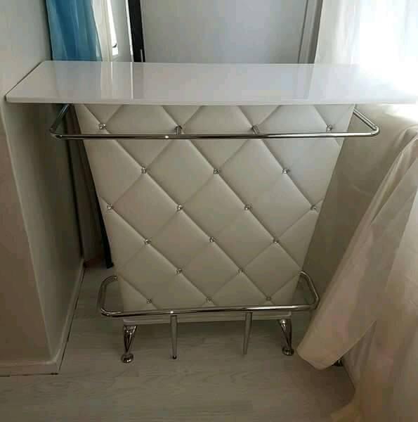 New White Vegas Bar Table With Storage