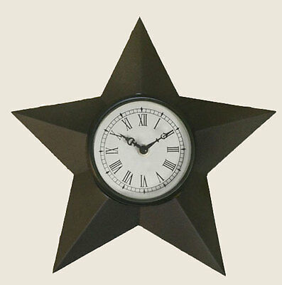 Nice Primitive Rustic Early American Barn Star Roman Numeral Electric Wall Clock
