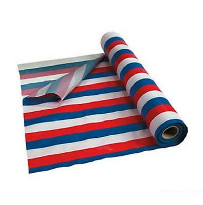 Festive Red White & Blue Striped Tablecloth Roll 40