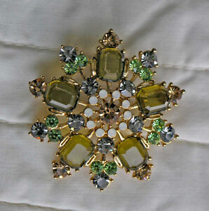Vintage Cosmetic Brooch (41 Stones) Variety of 5 stone colours