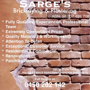Sarge's Bricklaying and Plastering Perth Perth City Area Preview