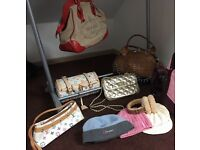 Selection of designer handbags and hats