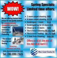 CARPET,UPHOLSTERY,TILE & GROUT CLEANING SPRING SPECIALS!!!!!!!