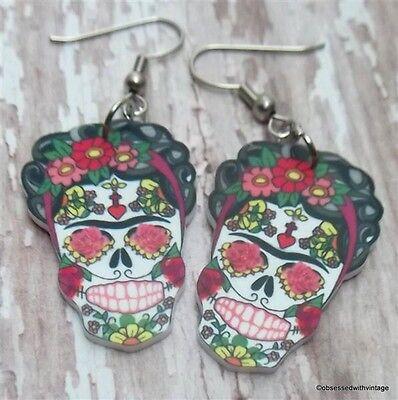 Frida Kahlo Sugar Skull Day Of Dead Rockabilly Tattoo Earrings