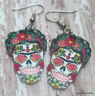 Frida Kahlo Sugar Skull Day Of Dead Rockabilly Tattoo Earrings