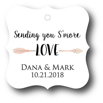 24 Arrow Sending you S'MORE love! Personalized Wedding Favor Tag, Gift Tags