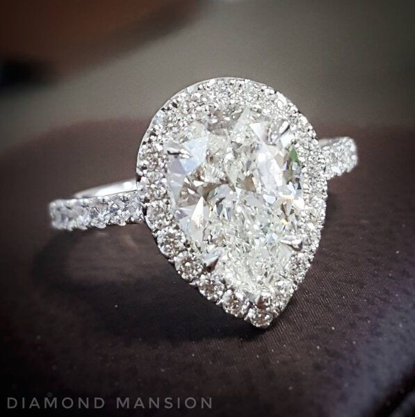2.10ctw Natural Pear Halo Pave Diamond Engagement Ring - GIA Certified