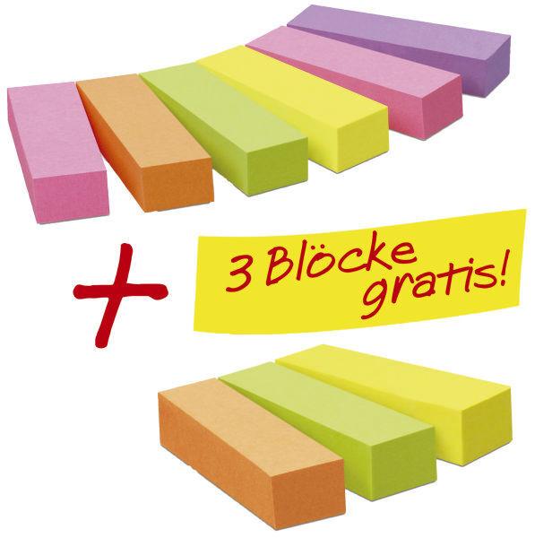 Post-it Haftstreifen Page Marker Promotion 6 x 100 + 3 x 100 gratis neonfarben