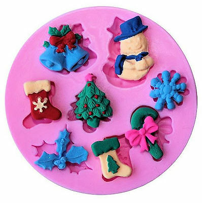 Christmas Things 8 cavities Silicone Mold, Candy, Fondant, Cake (Christmas Decorating Candy)