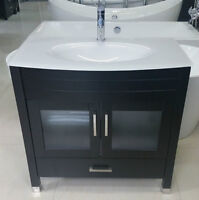 """Solid Wood 36"""" Bathroom Vanity With White Glass Top and drawers"""