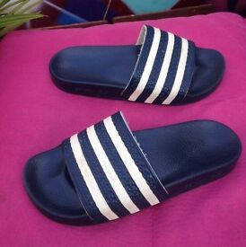 Adidas navy blue sliders flip flops size 6