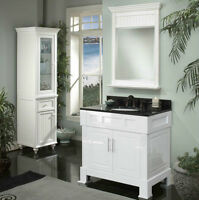 Meuble vanité blanc 36'' DEMO,comptoir granite/white vanity36''