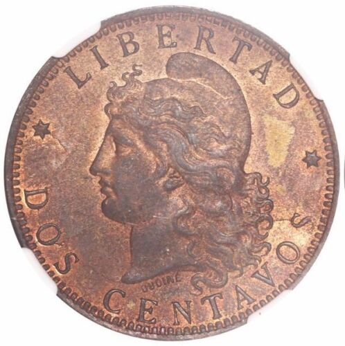Argentina, copper 2 centavos, 1891 low 9 / regular 9, encapsulated NGC MS 62 RB.