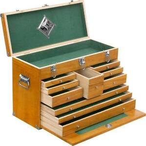 DEFECTIVE 10 DRAWER WOODEN MACHINIST TOOL CHEST WOOD BOX CABINET CASE TOOLBOX