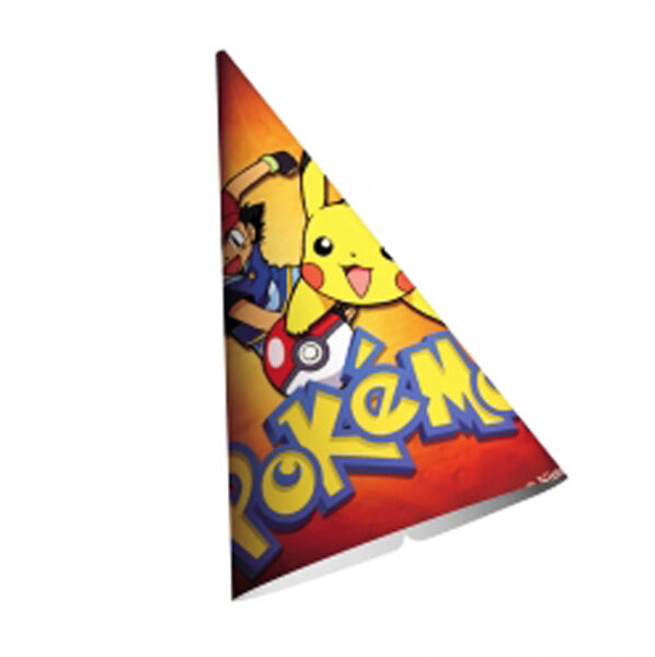 Pokemon Cone Hats (8) Birthday Party Supplies Paper Favors Ash Ketchum