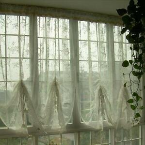 French Country Lace Austrian Balloon Shade Sheer Voile Cafe Kitchen Curtain J