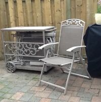 patio chairs x 4 with storage cart