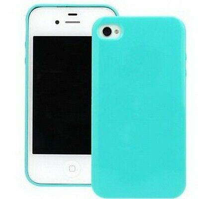 Blue Silicone Skin Case Cover (New Light Blue Soft Silicone Case Cover Skin for Apple iPhone 4 4G 4S )