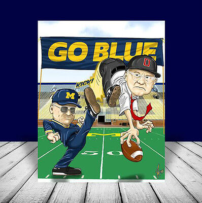 BO SCHEMBECHLER Michigan Wolverines FOOTBALL POSTER artist signed, vintage look!