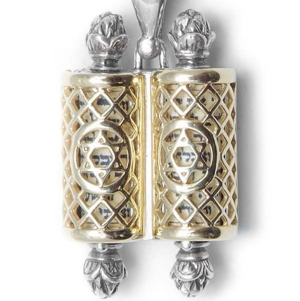 Filigree Torah Scroll Pendant Sterling Silver & 14K Gold Judaica Jewish Men