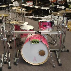 Pearl Vision 12-14ft-16ft-22 Birch Pink Swirl shell kit-batterie acoustique usagée en bouleau  - used