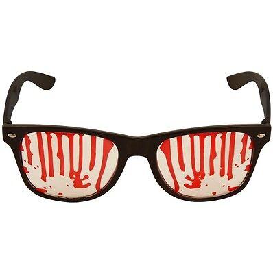 Halloween Kostüm Geek Brille mit Blood Tröpfelt Austin Brille Nerd Neu (Nerd Geek Halloween Kostüm)