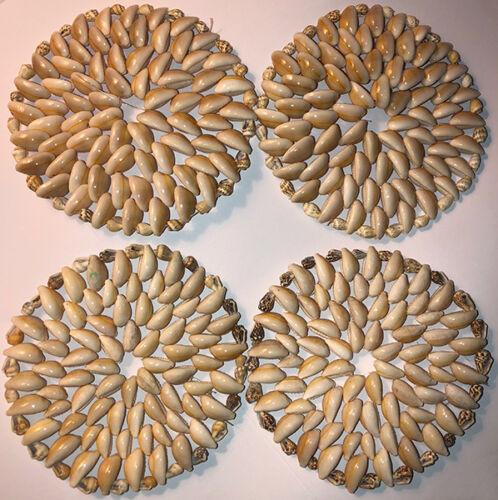 4 Cowrie Shells Hawaiian Doily Coasters Luau Tiki Bar Kitchen Table Decor Hawaii