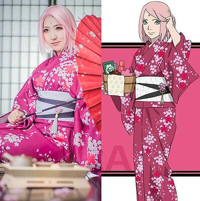 NARUTO Haruno Sakura Kimono Yukata Kostüm Cosplay Costume Anime Manga Comics - Haruno Sakura Kostüm