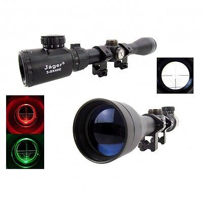 Zielfernrohr Riflescope Mil Dot Ziel-Visier 3-9x40E Jäger mit Montagen