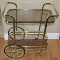 Vintage French Brass Tea or Bar Cart  *Delivery Available*