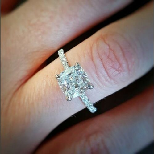1.90 Ctw Natural Cushion Cut Pave Diamond Engagement Ring - Gia Certified