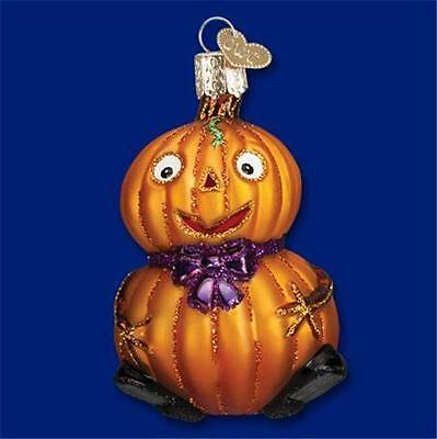 BABY PUMPKIN PURPLE BOW OLD WORLD CHRISTMAS GLASS HALLOWEEN ORNAMENT NWT 26071 - Purple Pumpkin