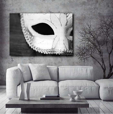 Masquerade Mask Black and White Canvas Art Poster Print Home Wall Decor