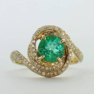 Emerald ring Colombian emerald 205 diamond ring price dropped
