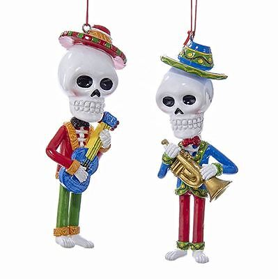 Day Of The Dead Skeleton Musician Ornaments Set Of 2 New Gothic Halloween