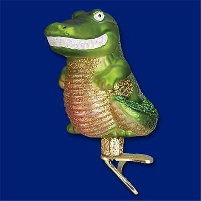 HAPPY GATOR ALLIGATOR ON CLIP OLD WORLD CHRISTMAS BLOWN GLASS ORNAMENT NWT 12433