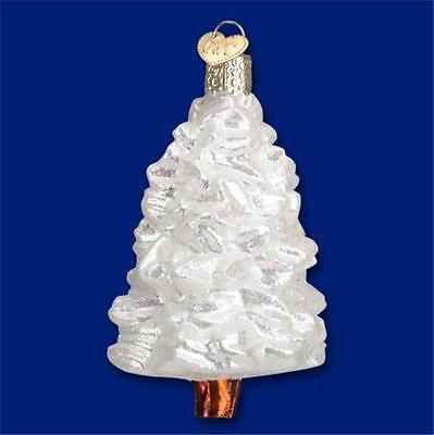 WINTER WONDERLAND TREE OLD WORLD CHRISTMAS GLASS WHITE TREE ORNAMENT NWT 48035