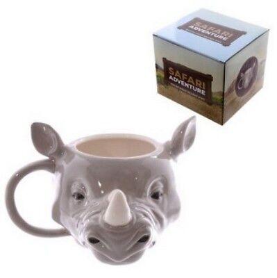 RHINO 3D STYLE SAFARI ANIMALS COFFEE MUG CUP NEW IN GIFT BOX ()