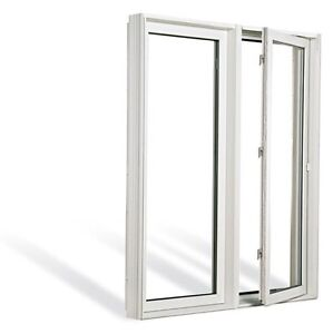 Two USED  white PVC casement windows with dual crank openings