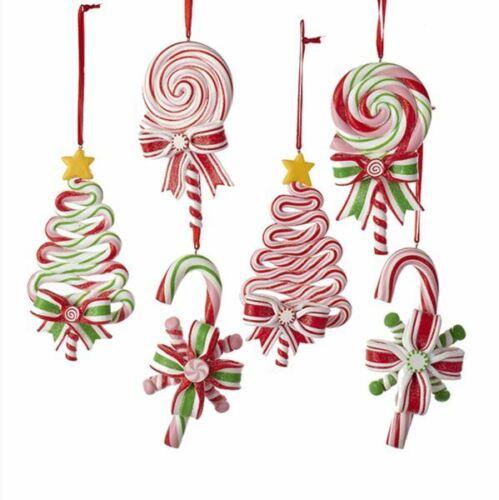 """Lollipop Peppermint Candy 5"""" Ornament Set 6  Clay-dough Christmas Kurt Adler"""