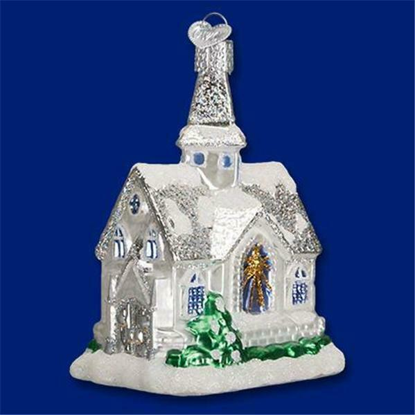 SPARKLING CATHEDRAL SILVER SNOW OLD WORLD CHRISTMAS GLASS ORNAMENT NWT 20076