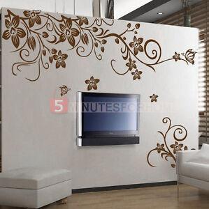 Adesivo parete fiori fioretti marrone decorazione muro for Stencil parete cucina