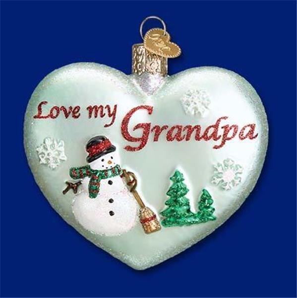 GREEN LOVE MY GRANDPA HEART SNOWMAN OLD WORLD CHRISTMAS GLASS ORNAMENT NWT 30044
