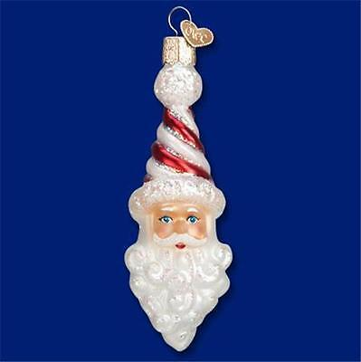 PEPPERMINT TWIST SANTA CLAUS W/ HAT OLD WORLD CHRISTMAS GLASS ORNAMENT NWT 40269