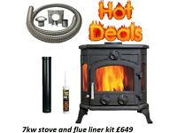 STOVE PACKAGE DEALS !!!OPEN LATE 6 DAYS multi fuel wood burner boiler modern cassette defra stoves