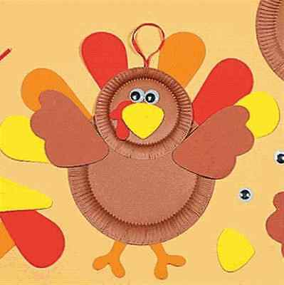 1 Turkey Paper Plate Craft Kit      Free S/H when u buy 6 items from my -