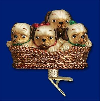 PILE OF PUGGLES 4 PUG PUPPIES CLIP ON BASKET OLD WORLD CHRISTMAS ORNAMENT 12434